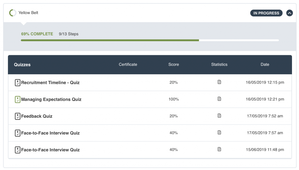 Recruitment School User Interface course progress